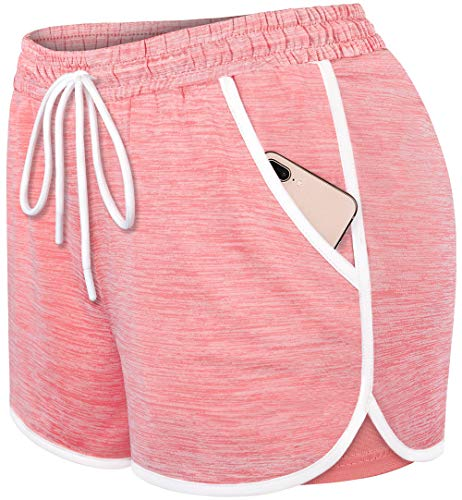 Blevonh Womens Athletic Shorts with Pockets,Ladies Loose Active Gym Running Shorts with Liner Ladies Moisture Wicking Short Pants Workout Gear Women Clothing Pink M