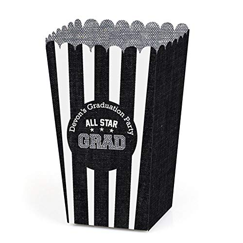 Big Dot of Happiness Personalized All Star Grad - Custom 2018 Graduation Party Favor Popcorn Treat Boxes- Custom Text - Set of 12