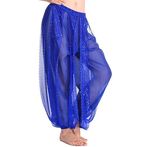 MUNAFIE Belly Dance Harem Pants Arabic Halloween Lantern Shiny Pants Fancy Pants US0-14 Navy Blue