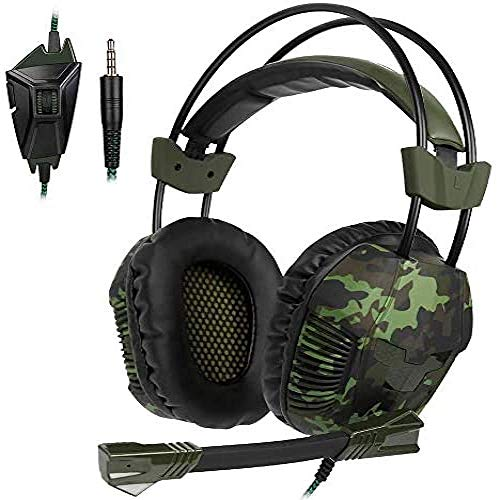 Auriculares De Camuflaje Army Green Gaming Head-Mountedergonomic Diadema Retráctil Reducción De Ruido Inteligente Compatible Con Múltiples Dispositivos