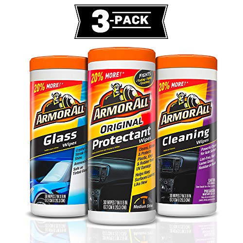 Armor All Protectant, Glass and Cleaning Wipes, 30 Count Each (Pack of 3)
