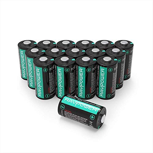 CR123A 3V Lithium Batteries RAVPower Non-Rechargeable Battery, 1500mAh Each, 16-Pack, 10 Years of Shelf Life for Polaroid Microphones Flashlight Arlo Cameras [CAN NOT BE RECHARGED]