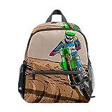 Kids Mini Backpack Wheelie Dirt Bikes Cute Small School Bags Toddlers Daypack for Children Girls Boys Teens Adult Outdoor