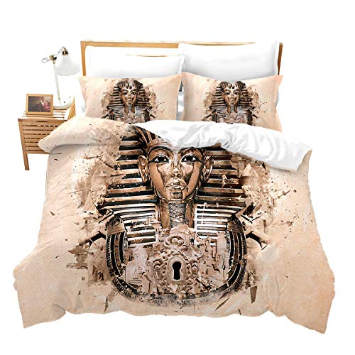 Loussiesd Ägypten Muster Bettwäsche Set für Jungen Mädchen Kinder Exotic Bettbezug Set mit Reißverschluss Mikrofaserbetten Set 1 Bettbezug 135x200 cm + Kissenbezüge 80x80 cm