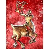 Bimkole 5D Kit de pintura de diamantes de imitación para ciervos de Navidad, taladro completo, arte estrellado cielo DIY set de pintura con kit de número, decoración de pared para el hogar (30x 40cm)
