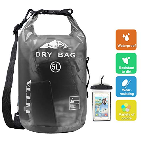 HEETA Waterproof Dry Bag for Women Men, Roll Top Lightweight Dry Storage Bag Backpack with Phone Case for Travel, Swimming, Boating, Kayaking, Camping and Beach, Transparent Black 5L