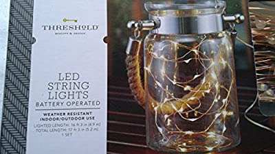 Threshold Indoor/Outdoor Battery Operated Copper Wire Led String Lights (16 ft. 3 in. lighted length)