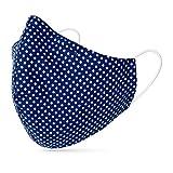 tanzmuster ® Behelfsmaske waschbar für Erwachsene - 100% Baumwolle OEKO-TEX 100 mit Nasenbügel und Filtertasche - Community Maske wiederverwendbar 2-lagig in Polka-Dots dunkelblau Größe L Erwachsene