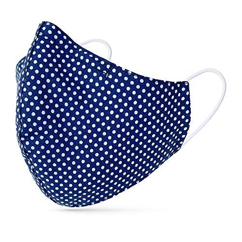 tanzmuster ® Behelfsmaske waschbar für Kinder - 100% Baumwolle OEKO-TEX 100 mit Nasenbügel und Filtertasche - Community Maske wiederverwendbar 2-lagig in Polka-Dots dunkelblau Größe S-Kinder