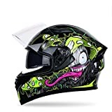 DOT Certified, Full Face Helmet, Motorcycle Helmet for Men, Comfortable Adult Bicycle Motorcycle Helmet, Unisex, Double Sun Visor, Effectively Protect The Head,Mushroom,M