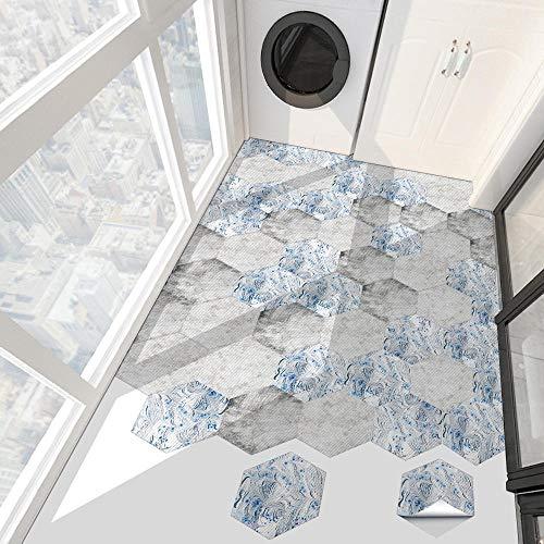 oumomy 20cmx23cm 10pcs Adhesivo Hexagonal para Azulejos Autoadhesivo Antideslizante DecoracióN del Hogar BañO Cocina Sala De Estar Dormitorio Pegatinas De Baldosas Suelos De Vinilo-Gris Claro
