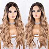 K'ryssma Dirty Blonde Lace Front Wig with Dark Roots Ombre Long Wavy Synthetic Wig for Women