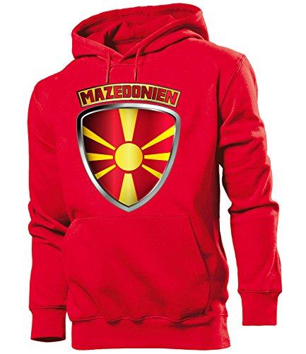 Golebros Mazedonien Macedonia Fussball Fanhoodie Fan Männer Herren Hoodie Pulli Kapuzen Pullover Fanartikel Trikot Look Geschenke Flagge zubehör Fahne fußball Fanartikel Oberteil Flag Artikel Outfit