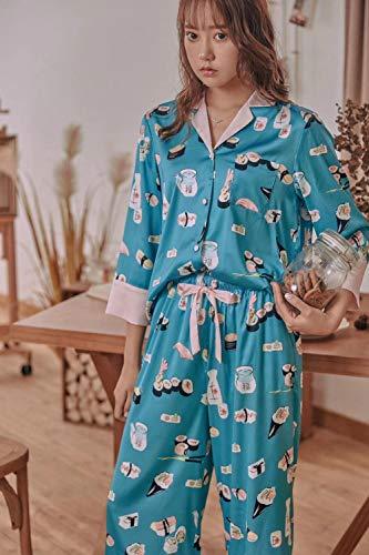 Camisones Pijamas De Una Pieza Señoras Inicio Ropa Sushi Estampado Manga Pijama De Solapa Juguetona Para Mujer