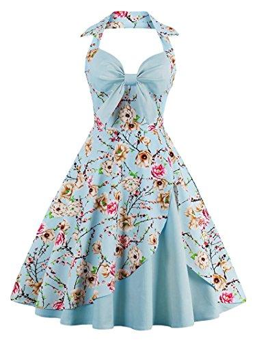 Babyonline Damen Halter Vintage Retro Kleider Abendekleider, Blau, L