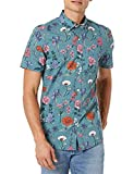 Amazon Brand - Goodthreads Men's Slim-Fit Short-Sleeve Printed Poplin Shirt, Wallpaper Floral, Medium