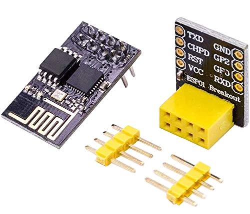 AZDelivery ESP8266 ESP-01 Serial Wireless WLAN WiFi Transceiver Module with ESP-01 Breakout Breadboard Adapter for Arduino including E-Book!