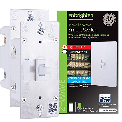 GE Enbrighten Z-Wave Plus Smart Light Switch 2-pack, QuickFit & SimpleWire, Commercial 120/277VAC, Works with Alexa, Google Assistant, ZWave Hub & Neutral Wire Required, Toggle, 49187,White