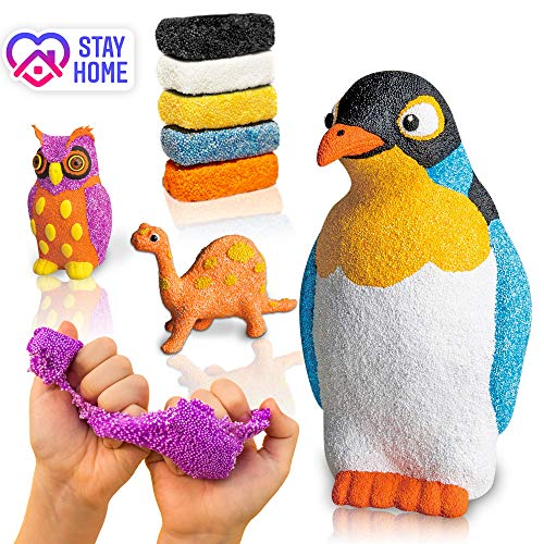 VOYAgers group Big Sale - Craft Kits for Kids & Adults - Play Foam - Modelling Art kit - Super Soft Dough - Modelling Clay - 3 in 1 Penguin + Dinosaur + Owl