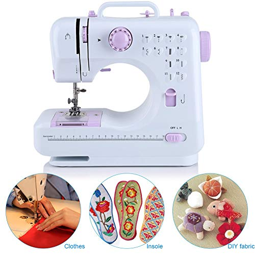 Ejoyous 220V Máquina de coser Eléctrica Pedal Doble Control de Velocidad Máquina de coser con LED Luz de costura y función de enrollado Traje para cambiar de ropa, 27 x 12 x 26 cm