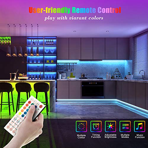 50ft Led Strip Lights, Leeleberd Music Sync Color Changing Led Light Strips, App Control and Remote, Led Lights for Bedroom Living Room Party Home Decoration 5