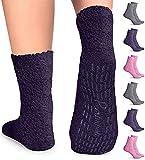 Pembrook Non Skid Socks - Hospital Socks - (6-Pairs) 2 Purple / 2...