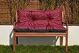 Cristal Gartenbankauflage Bankauflage Sitzpolster Bankkissen Sitzkissen und Rückenkissen Polsterauflage leicht zu reinigen 150 cm (Bordeaux)