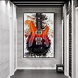 HXLZGFV Guitarras Instrumentos Colección Música Lienzo Pintura Carteles Modernos e impresión Imagen de Arte de Pared para la decoración de la Sala de estar-50x70cm-Sin Marco