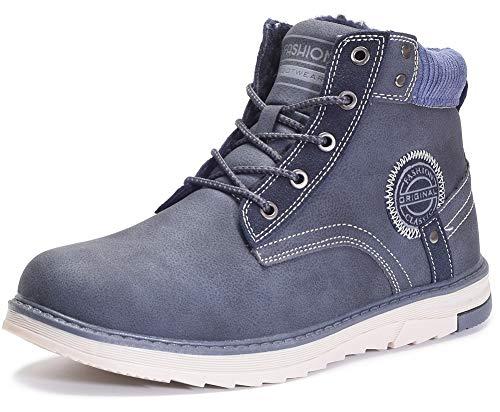 Gaatpot Uomo Neve Stivali Inverno Stivaletti da Escursionismo Scarpe da Trekking Caldo Cotone Scarpe Piatto Sportive Boots Blu 41 EU