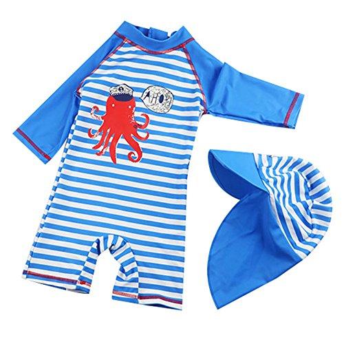 G-Kids Kinder Jungen Badeanzug Bademode Einteiler UPF 50+ UV Schützend Schwimmanzug mit Sonnenhut (M/ 85-95cm ) Etikette Gr: 6
