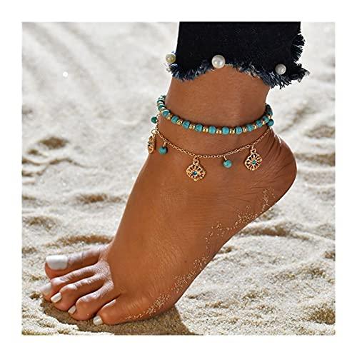 HETHYAN Moda Multilayor Tobilleras para Mujeres Bohemian Conch Beads Hojas Toblet Brazalet Boho Jewelry (Metal Color : Style O)