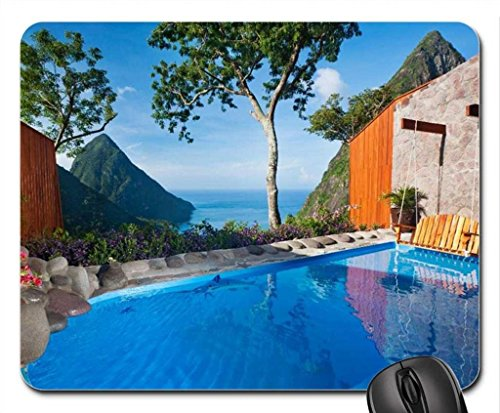 Luxury Pool Clifftop Hideaway Mouse Pad, Mousepad (Beaches Mouse Pad)
