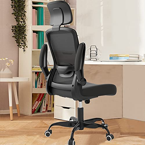 2021 Newest Home Office Desk Chairs, Ergonomic Office Chair with Adjustable Headrest and Lumbar Support, Computer Desk Chair with Thickened Cushion and Flip-up Armrests, Black