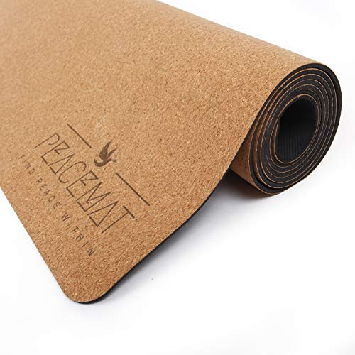 """PeaceMat Luxury Cork Yoga Mat w/Natural Rubber Bottom: Eco-Friendly, Non-Slip, and Odor Free; Built for Hot Yoga. 72"""" Long 24"""" Wide. Carrying Strap Included!"""