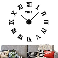 Fanyuanfds Large 3D DIY Wall Clock, Giant Roman Numerals Clock Frameless Mirror Sticker Wall Clock Home Decoration for Living Room Bedroom-2-Year Warranty(Black)