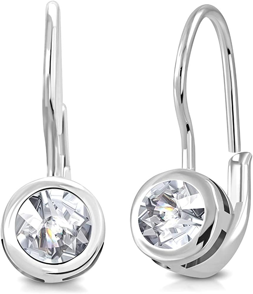 Details about  /925 Sterling Silver White Pearl Three-Stone CZ Drop Leverback Earring /& Set