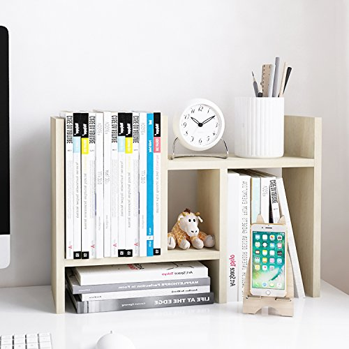 Jerry & Maggie - Desktop Organizer Office Storage Rack Adjustable Wood Display Shelf - Free Style Double H Display - True Natural Stand Shelf - White Wood Tone