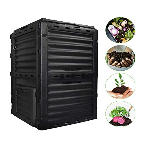 Affordable EJWOX Garden Compost bin from Recycled Plastic, 80 Gallon(300 L), Easy Assembling, Large ...