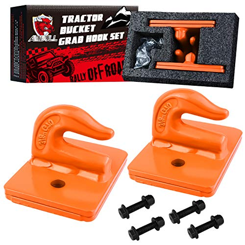 AMBULL (2 Pack 3/8' Tractor Bucket Grab Hook Grade 70 Forged Steel Bolt On Grab Hook Tow Hook Mount with Backer Plate,Work Well for Tractor Bucket, RV, UTV,Truck, Max 15,000 lbs, Orange