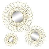 Nicola Spring Daisy Rattan Wall conjunto de espejos - Flor Ronda marco colgante Boho Espejo - 3 Tamaños - Brown