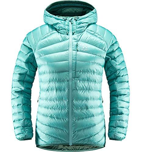 Haglöfs Daunenjacke Frauen Daunenjacke Essens Down Hood Wärmend, Atmungsaktiv, Wasserabweisend Glacier Green/Willow Green XS XS