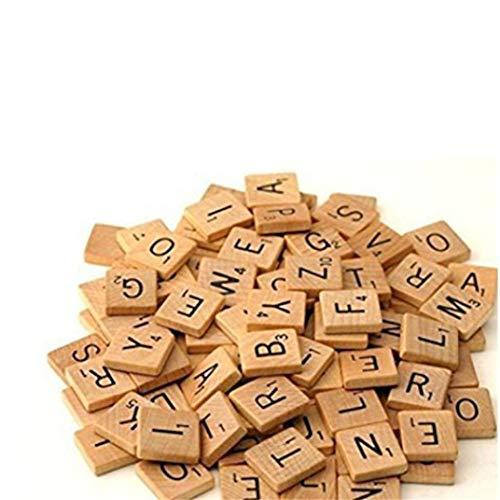 DYSCN Wooden Scrabble, Wooden Alphabet Block, Crafts Scrabble Fliese A-Z Crafts Großbuchstaben, Rechtschreibung Scrabble Kreuzworträtsel (Noted The Quantity)