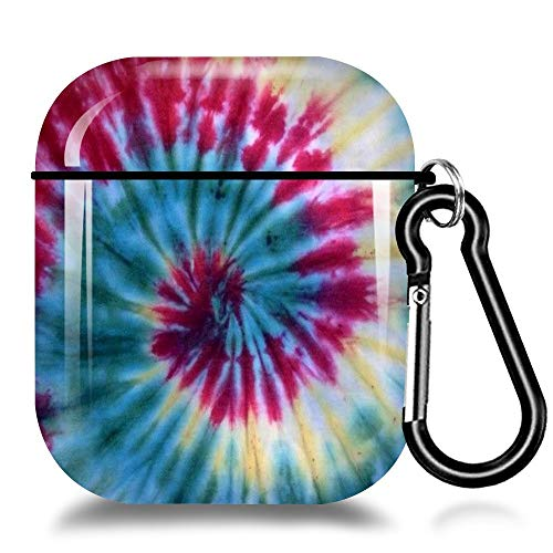 Case for Airpods1&2 Cute Tie-Dye Design Airpod Case Hard Skin Case Protive Shockproof Cover for Women Girls Boys Airpods Skin Case Cover with Keychain Compatible with Wireless Charging-Tie-Dye