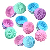 To encounter Silicone Cupcake Baking Cups, Food Grade Non-Stick Silicone Muffin Liners, Reusable 3 Inch Silicone Molds, 6 Shapes Pack of 24