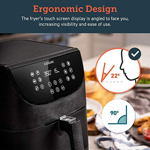 COSORI Air Fryer, 5.8QT Oil Free XL Electric Hot Air Fryers Oven, Programmable 11-in-1 Cooker with Preheat & Shake Reminder, Equipped Digital Touchscreen and Nonstick Basket, 100 Recipes, 1700W