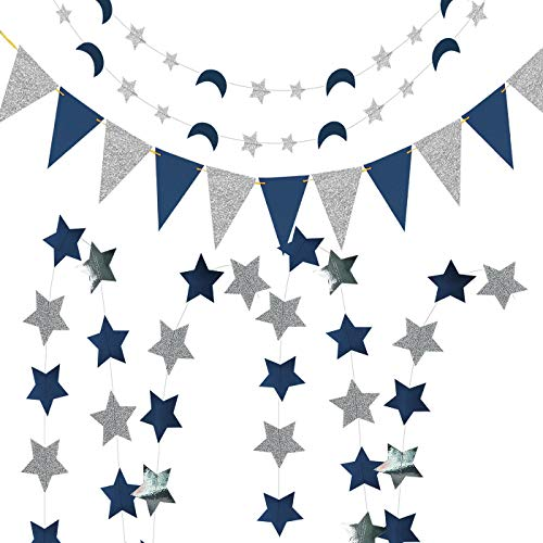 Navy Silver Birthday Party Decorations Triangle Banner Navy Blue Glitter Silver Paper Star Garlands Star Moon String for Prince Twinkle Twinkle Little Star Baby Shower Decorations/Outer Space Decor