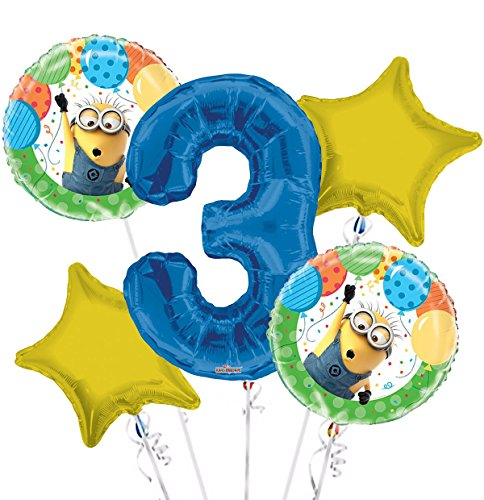 Minions Despicable Me Balloon Bouquet 3rd Birthday 5 pcs - Party Supplies