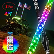 Nilight - TL-27 2PCS 4FT Spiral RGB Led Whip Light with Spring Base Chasing Light RF Remote Control Lighted Antenna Whips for Can am ATV UTV RZR Polaris Dune Buggy Offroad Truck