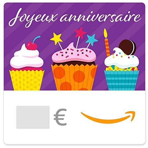 Chèque-cadeau Amazon.fr - E-mail -Cupcakes danniversaire