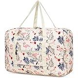 Bolsa de viaje, plegable, de lona, ideal para fines de semana o para llevar al gimnasio, perfecta como equipaje de mano para mujeres, niños y niñas, (1112 color beige, diseño flamencos)